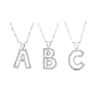 Cut-out Clear Crystal Initial Pendant Necklace