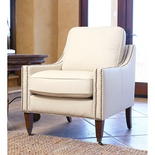 Abbyson living sedona light cream microsuede nailhead for Abbyson living soho cream fabric chaise