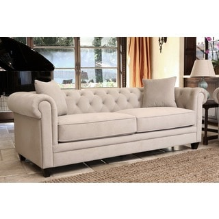 Abbyson Living Fulton Beige Velvet Fabric Tufted Sofa