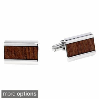 Stainless Steel Cuff Links with Wooden Inlay