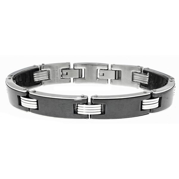Stainless Steel Black Ceramic Link Bracelet