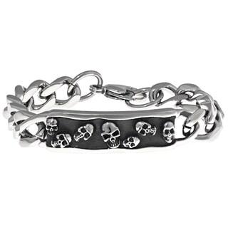 Stainless Steel Skull Accent Identification Bracelet