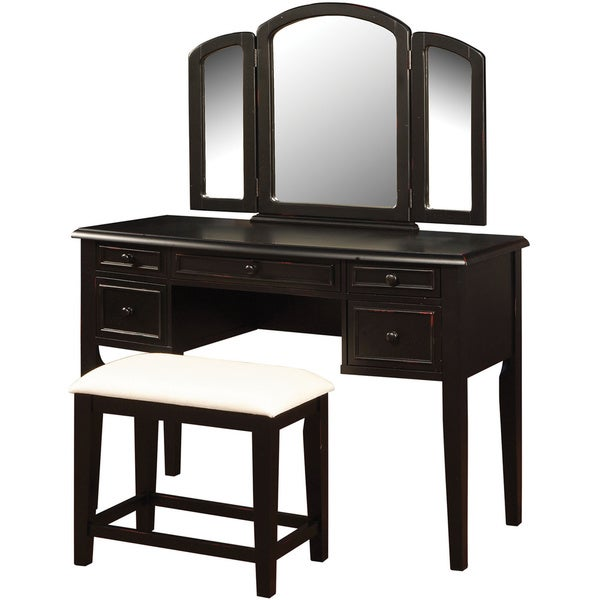 Powell Antique Black Sand-through-Terra Cotta Vanity, Mirror and Bench