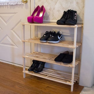 Lavish Home Wooden 4-shelf Shoe Rack