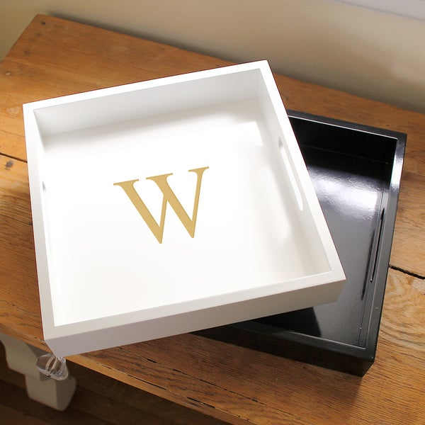 Personalized White Lacquer Tray