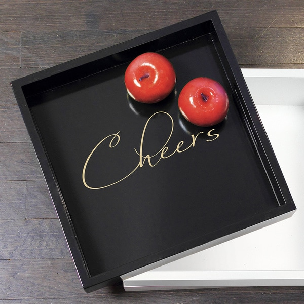 Black Cheers Lacquer Tray