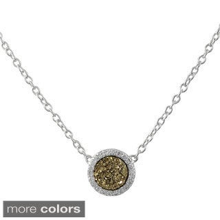 Sterling Silver Druzy Quartz and White Cubic Zirconia Pendant Necklace
