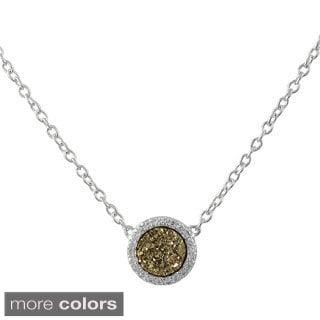 Sterling Silver Druzy Quartz and White Cubic Zirconia Pendant Necklace