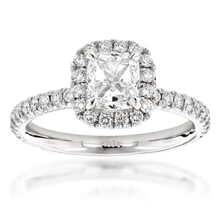 Luxurman 14k Gold 2ct TDW Cushion-cut Diamond Halo Engagement Ring (G-H, VS1-VS2)