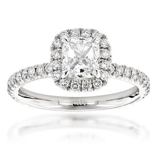 Luxurman 14k White Gold 2ct TDW Cushion-cut Diamond Halo Engagement (G-H, VS1-VS2)