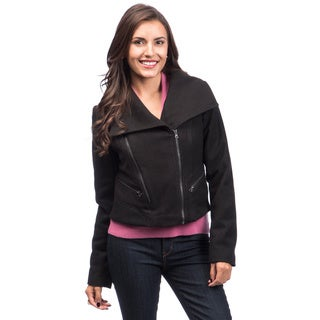 Maralyn & Me Women's Zip-front Cropped Moto Jacket