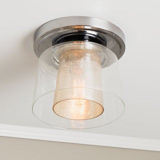 Double Mercury Glass 1-light Flush Mount