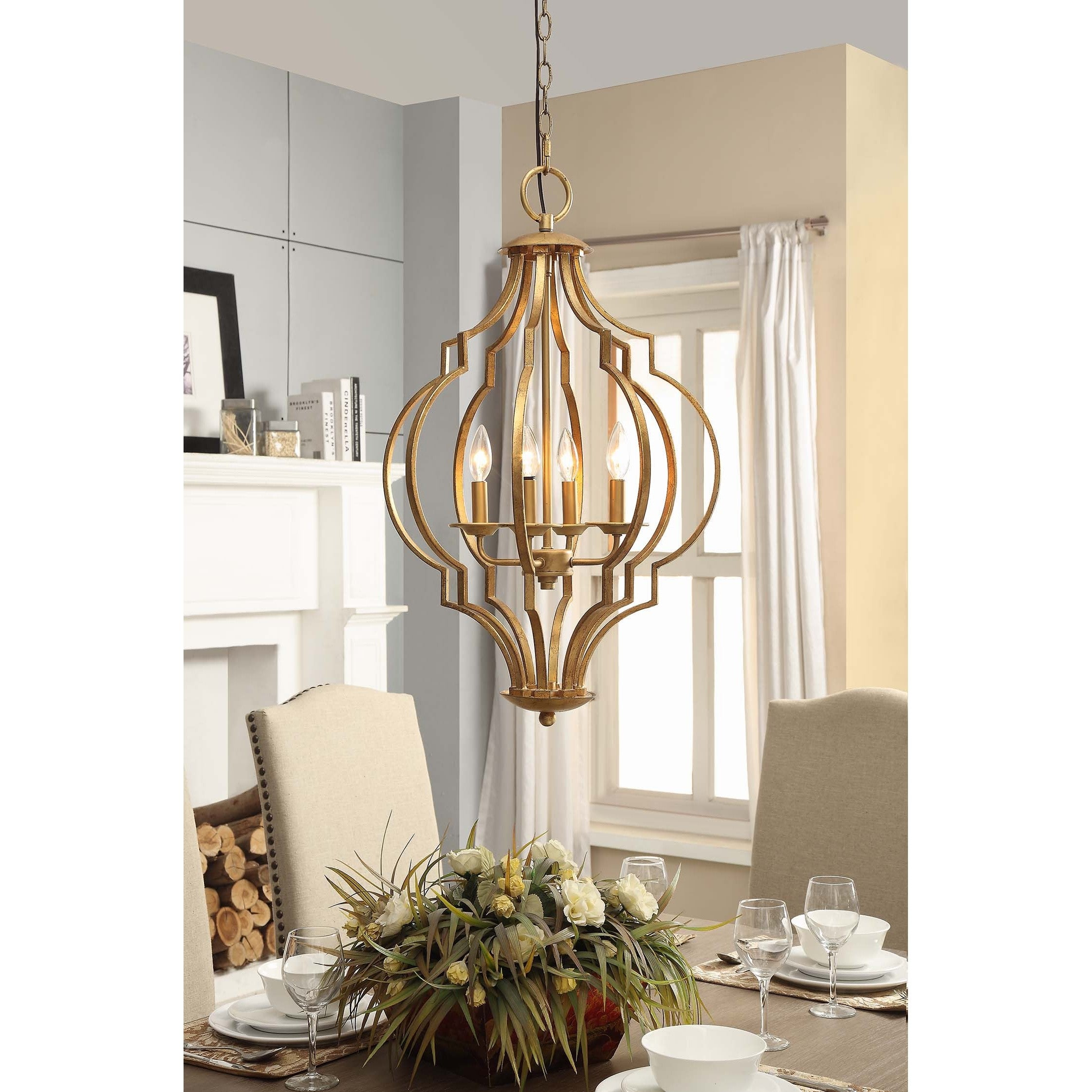 Gold Leaf Trellis 4 Light Chandelier Overstock Shopping