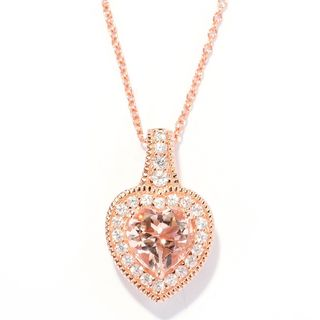 18k Rose Vermeil Over Sterling Silver Heart Shaped Morganite and White Zircon Pendant Necklace