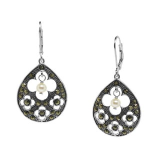 Gioelli Sterling Silver Clover Cut-out Suspended Pearl Marcasite Dangle Earrings (4-5 mm)