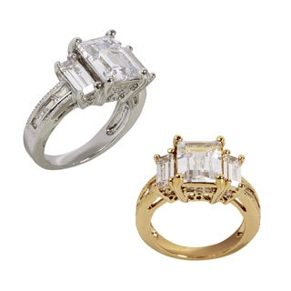 NEXTE Jewelry Goldtone or Silvertone Emerald-cut Cubic Zirconia Ring