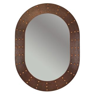 35-inch Hand Hammered Oval Copper Mirror with Hand Forged Rivets