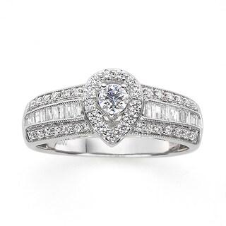 14k White Gold 5/8ct TDW Round and Baguette Diamond Ring (H-I, I1-I2)