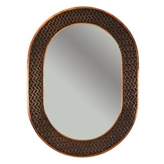 35-inch Hand Hammered Oval Copper Mirror with Decorative Braid Design