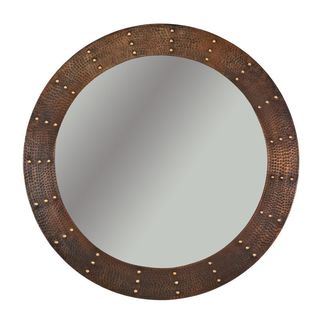 34-inch Hand Hammered Round Copper Mirror with Hand Forged Rivets