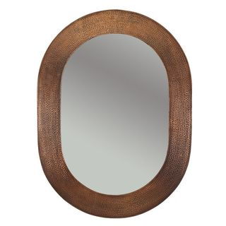 35-inch Hand Hammered Oval Copper Mirror