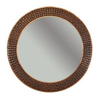 34-inch Hand Hammered Round Copper Mirror with Decorative Braid Design