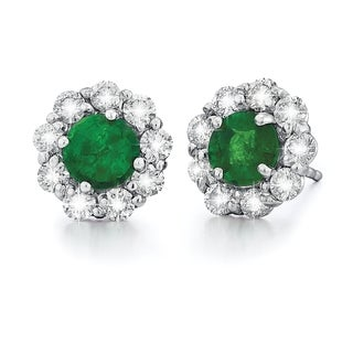14k White Gold High Polish 1 1/8ct TDW Diamond and Emerald Stud Earrings (G-H, SI1-SI2)
