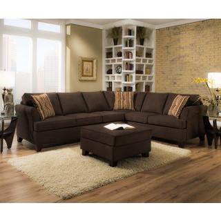 Made to Order Simmons Upholstery Diver Chocolate Two Piece Sectional