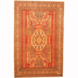 Herat Oriental Afghan Hand-knotted Kazak Red/ Beige Wool Rug (6'7 x 10'2)