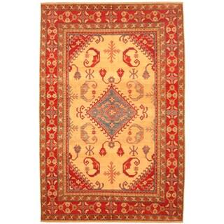 Herat Oriental Afghan Hand-knotted Kazak Beige/ Red Wool Rug (6'11 x 10'4)