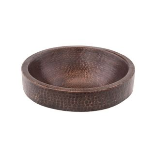 Premier Copper Products Small Round Skirted Vessel Hammered Copper Sink