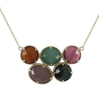 Goldplated Sterling Silver Multicolored Round and Oval Semi Precious Bib Statement Necklace