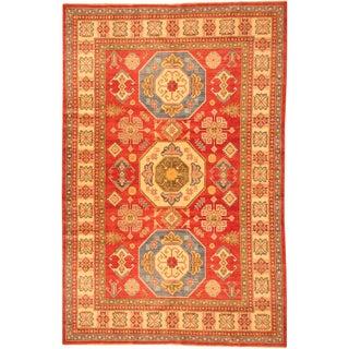 Herat Oriental Afghan Hand-knotted Kazak Red/ Beige Wool Rug (6'8 x 10'3)