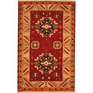 Herat Oriental Indo Hand-knotted Kazak Rust/ Ivory Wool Rug (3' x 5')