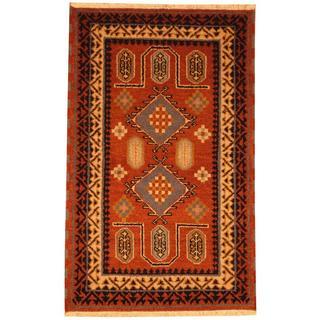 Herat Oriental Indo Hand-knotted Kazak Brown/ Ivory Wool Rug (3' x 5')