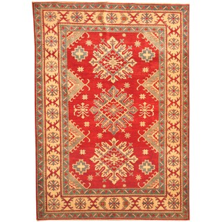 Herat Oriental Afghan Hand-knotted Kazak Red/ Beige Wool Rug (6'10 x 9'9)