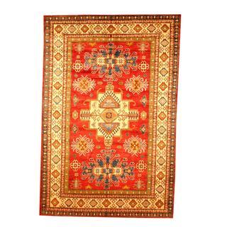 Herat Oriental Afghan Hand-knotted Tribal Kazak Red/ Beige Wool Rug (6'9 x 10'2)