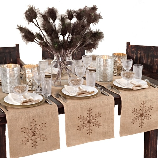 Beaded Snowflake Design Table Runner