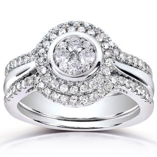 Annello 10k White Gold 1/2ct TDW Diamond 3-piece Bridal Ring Set (H-I, I1-I2)