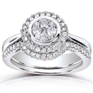 Annello 10k White Gold 3/8ct TDW Round-cut Diamond Bridal Rings Set (H-I, I1-I2)