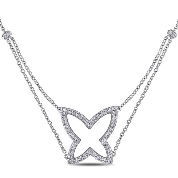 Miadora Sterling Silver White Topaz Butterfly Necklace