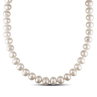 Miadora 14k White Gold White Cultured Freshwater Pearl Necklace (10-11 mm)