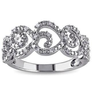 Miadora Sterling Silver 1/6ct TDW Diamond Heart Ring (H-I, I2-I3)
