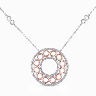 Miadora Rose Plated Silver 1/4ct TDW Diamond Infinity Necklace (H-I, I2-I3)