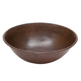 Premier Copper Products Round Wired Rimmed Vessel Hammered Copper Sink