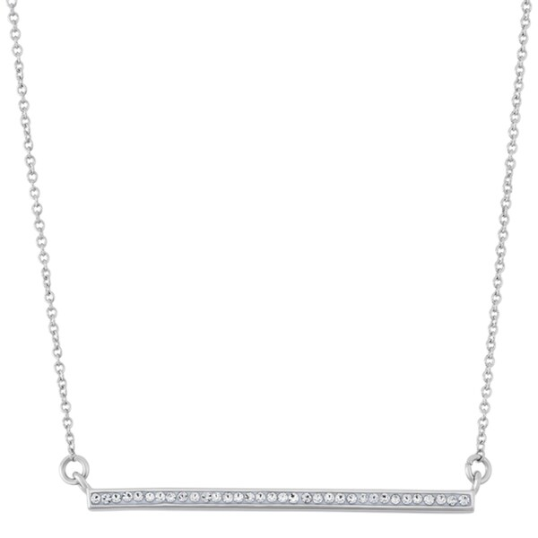 Fine Silver Plate Swarovski Crystal Straight Row Trapeze Necklace