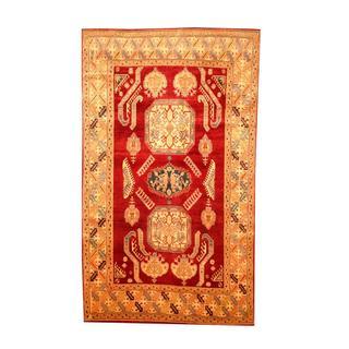 Herat Oriental Afghan Hand-knotted Tribal Kazak Maroon/ Tan Wool Rug (6'1 x 10'5)
