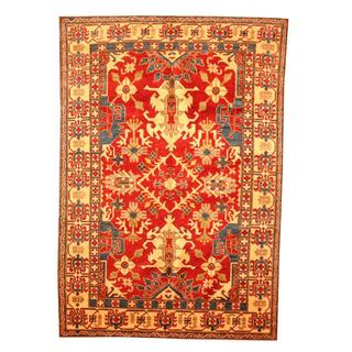 Herat Oriental Afghan Hand-knotted Tribal Kazak Red/ Tan Wool Rug (6'2 x 8'11)