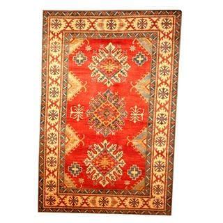 Herat Oriental Afghan Hand-knotted Tribal Kazak Red/ Tan Wool Rug (6'9 x 10'1)