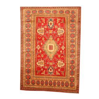Herat Oriental Afghan Hand-knotted Tribal Kazak Red/ Tan Wool Rug (5'8 x 8')